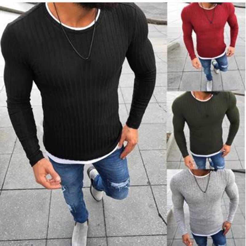 Huation 2018 nuevos hombres de cuello redondo suéter que hace punto caliente tamaño grande hombres de la moda manga larga suéter para hombre otoño ropa