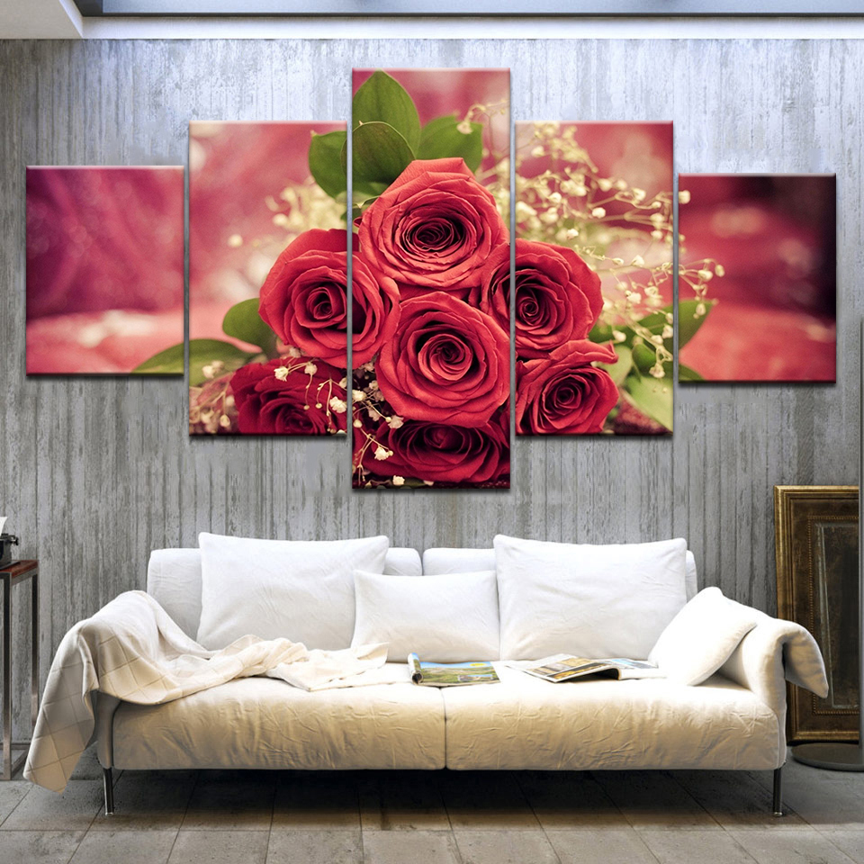 Fleur Pour Decoration Salon us $5.68 42% off|5 panel/pieces hd print a red rose flowers wall posters  print on canvas art painting for home living room decoration-in painting &