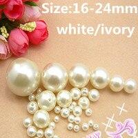 Blanco Y Marfil de imitación Perlas de Resina 16-24mm ABS Redonda Con Agujero Flojo Artesanía Joyería de Los Granos DIY de La Boda vestidos Decoraciones