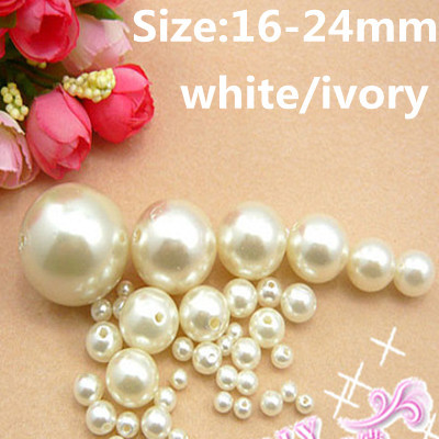 Imitation Resin Pearls White And Ivory 16-24mm ABS Round With Hole Loose Crafts Beads DIY Jewelry Wedding Dresses Decorations fashion white with red coral beads necklaces nigerian african wedding beads jewelry set free shipping abg354