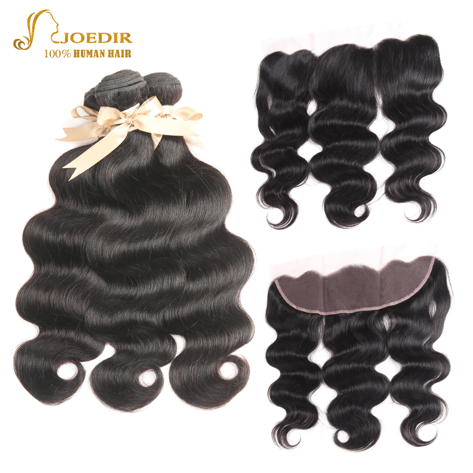 Joedir Body Wave Hair Bundles with Frontal Closure Indian Human Hair Extensions 3 Bundles with Lace Frontal Pre-plcuked Non Remy