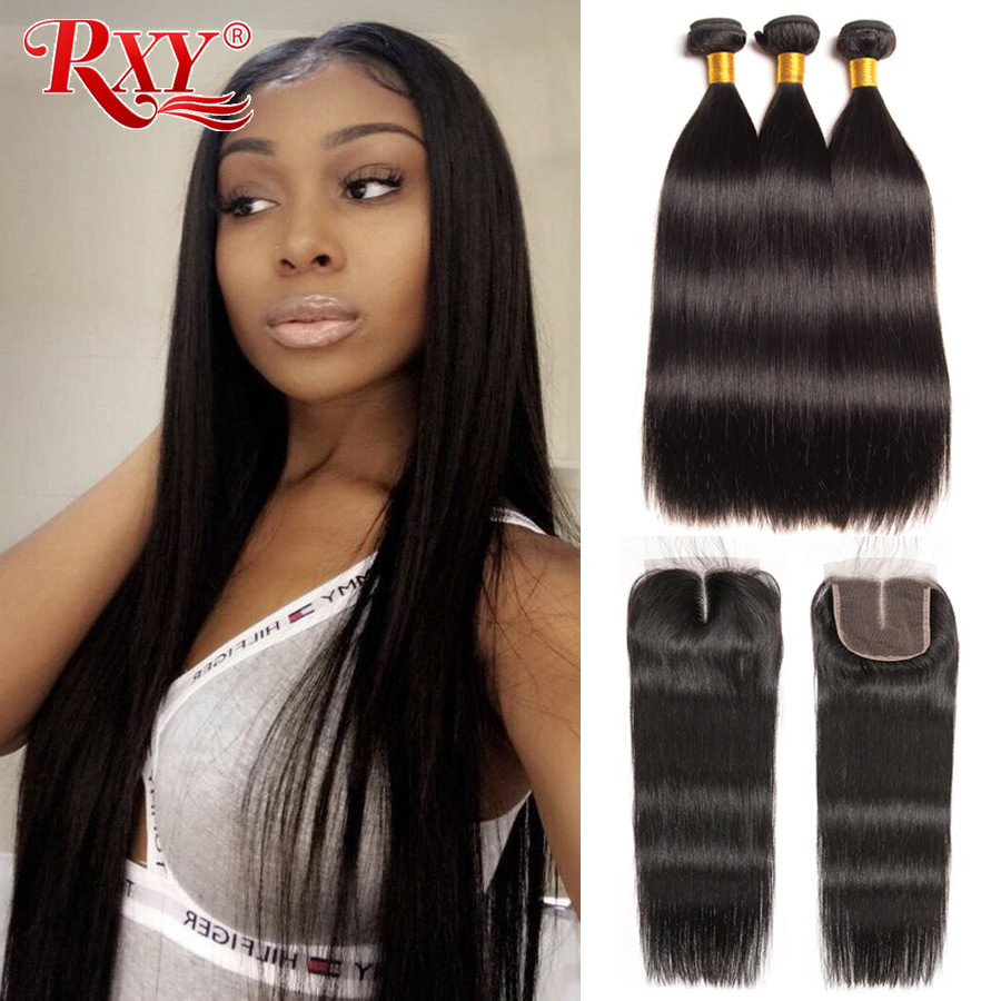 RXY Remy Peruvian Hair Bundles With Closure Straight Hair Bundles With Closure 100 Human Hair Bundles
