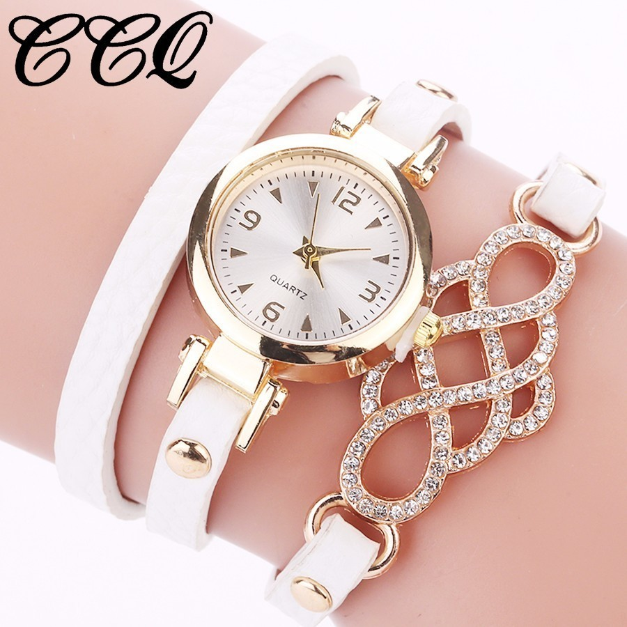 CCQ Hot Fashion Women Leather Bracelet Watches Casual Ladies Rhinestone