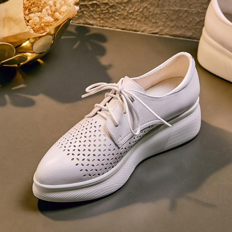 Femmes chaussures décontractées mode respirant marche en cuir véritable chaussures à lacets plate-forme chaussures baskets femmes blanc rose