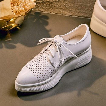 Women casual shoes fashion breathable Walking Genuine Leather lace up flat platform shoes sneakers women White pink
