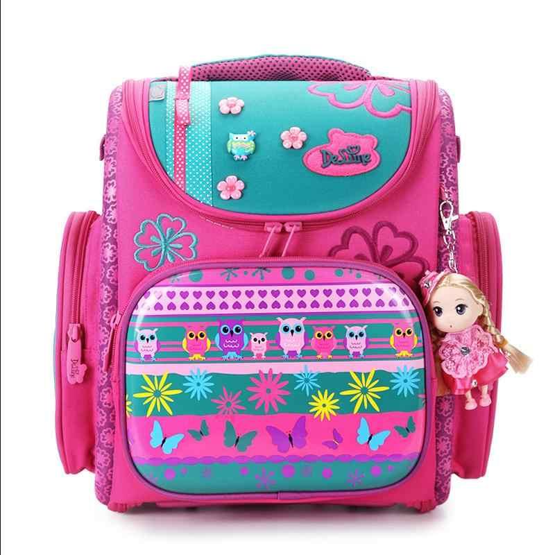 925dc5a213d0 Delune 2017 новая европейская детская школьная сумка для мальчиков и  девочек рюкзак Мультфильм Mochila Infantil большой