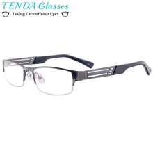 Металлические полуободные очки для глаз, мужские прямоугольные оптические оправы для очков по рецепту