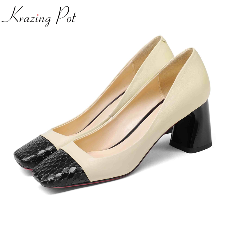 Karzing Pot cow leather strange style high heels square toe women pumps mixed color shallow daily