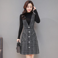 Women Autumn Winter Vest Dress V Neck Strap Dress Vintage Sleeveless Pocket Plaid Dress Female Slim Woolen Dresses Vestidos R541
