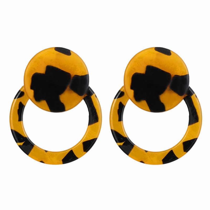 2019Fashion ZA Jewelry Acrylic Resin Oval stud Earrings For Women Geometry Big Circle Tortoiseshell Earrings Acetate Brincos