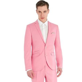 Hot Pink Bridegroom Tuxedo Prom Party 2 Piece Suit Groomsmen Men's Wedding Suits Best Men Tailored Suit Custom Made Jacket+Pants