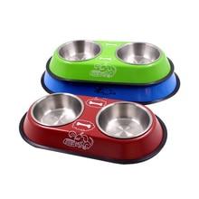 Posodica za pse iz nerjavečega jekla, napajalnik za hranjenje vode skodelica za hišne pse mačka psiček Hrana posoda za vodo posoda iz nerjavečega jekla dou4