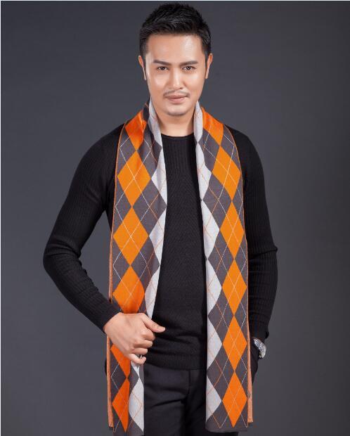 Winter New Fashion Warm Thick Scarf Long Mens Striped Crochet Scarf
