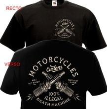 Мужская винтажная Байкерская футболка с коротким рукавом и принтом, на заказ