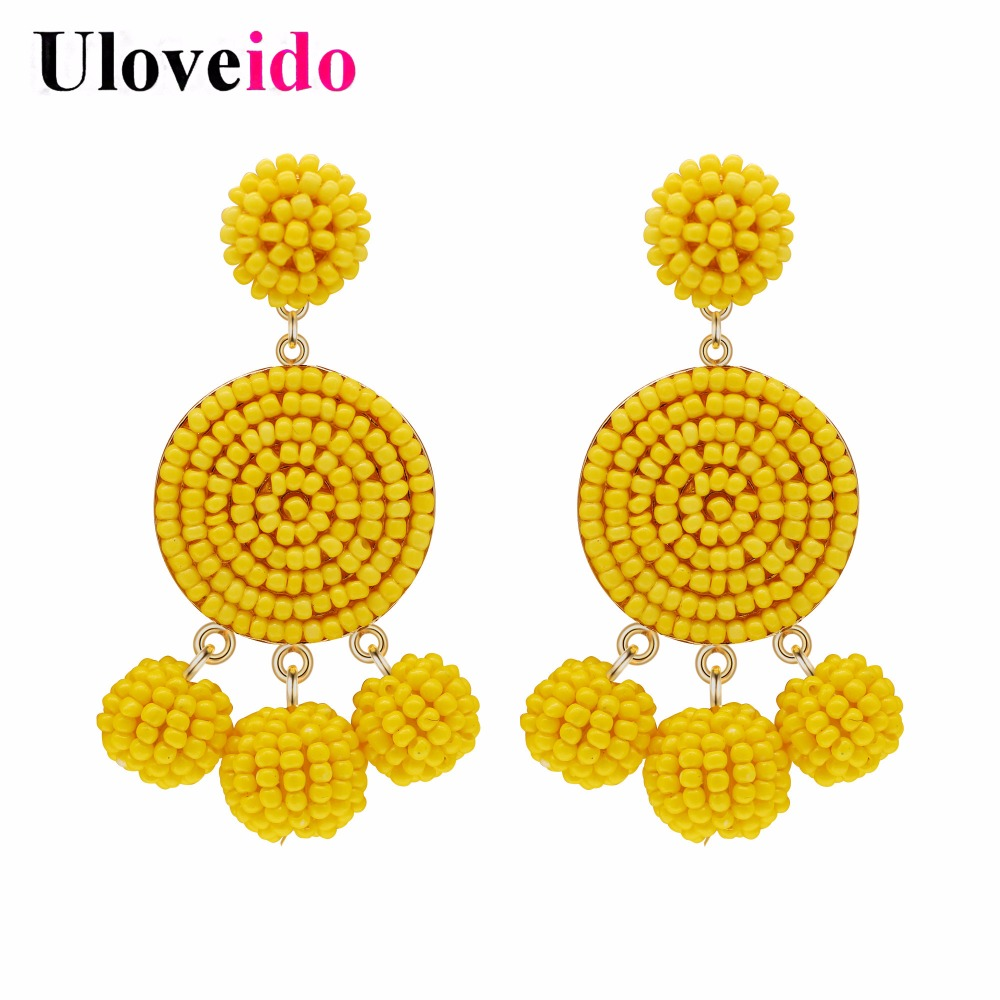13ff7a980 Uloveido Yellow Earring 2018 Thread Wrapped Sead Bead Earrings for Women  Cute Stud Earings Jewelry Valentine's Day Gift HM002-in Stud Earrings from  Jewelry ...