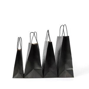 Image 2 - 30 יח\חבילה מתנת שקיות עם ידיות רב פונקציה שחור נייר שקיות 3 גודל למחזור סביבה הגנת נייר תיק