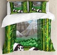 Постельное белье, панд ходьбе среди бамбука величественные горные джунгли иллюстрации Мультфильм, 4 шт. Постельное белье