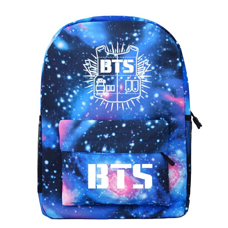Bangtan Boys ARMY BTS Backpack Korea Style Fashion Galaxy Stars Printed BT21 Accessories Teenage ...