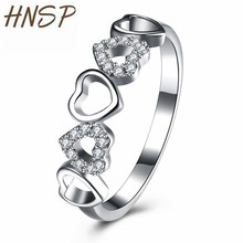 HNSP Hollow Design Heart 925 Silver Ring For Women jewelry Female Anel 2019 New