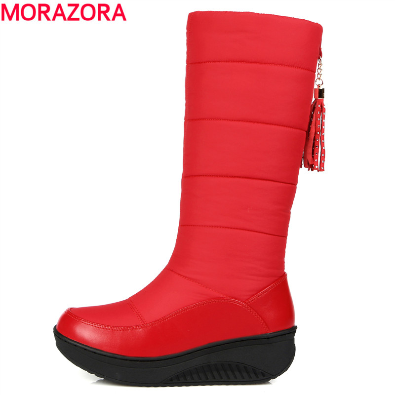 MORAZORA 2017 new fashion Russia keep warm thick fur snow boots wedges heels platform knee high boots winter shoes woman 11cm heels 2013 new winter high platform soled high heeled snow boots female side zipper rabbit fur thick heels snow shoes h1852