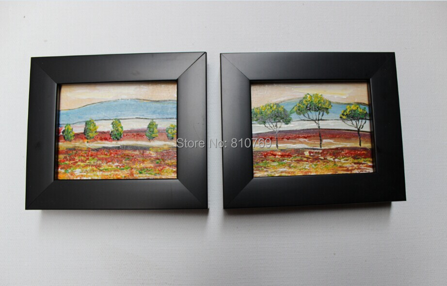 NEW 100% hand-paintedHome decoration oil painting on Small thin board Match framework high quality field 2pcs/set DM-928019