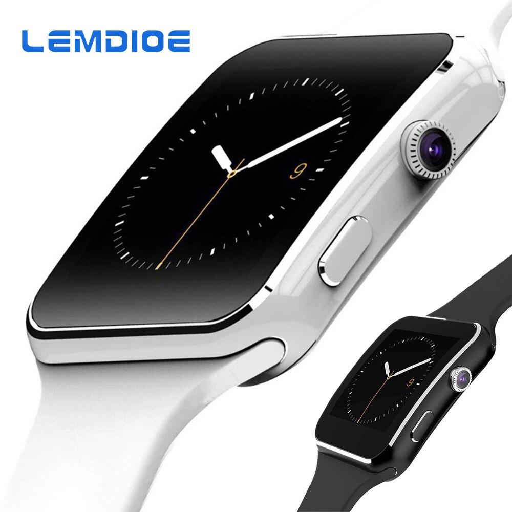LEMDIOE reloj inteligente X6 soporte tarjeta SIM TF con cámara reloj inteligente con Bluetooth, de los hombres reloj de pulsera para iPhone Xiaomi Android IOS