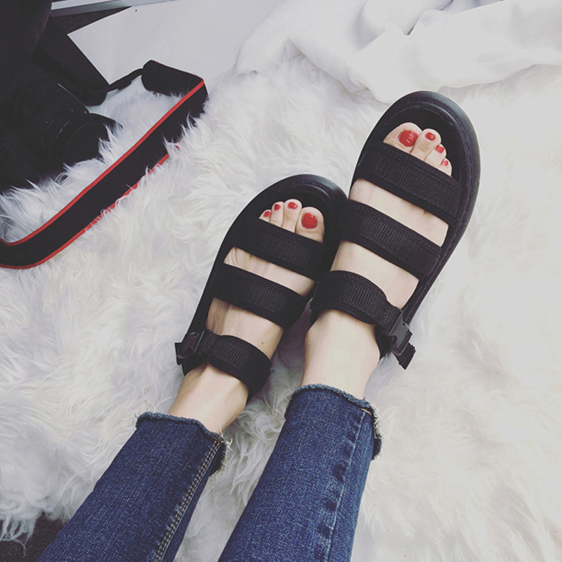 ФОТО 2016 Summer Flat Sandals Women Wedges Shoes All-match Thick Soft Sole Sandalias Retro Triffle Flat Women's Shoes Zapatos Mujer