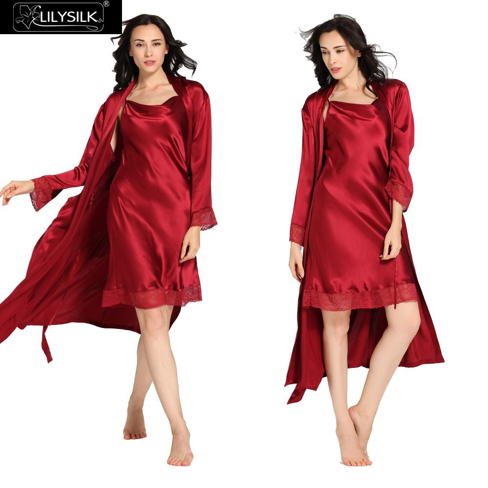 1000-claret-22-momme-lace-long-silk-nightgown-&-dressing-gown-set