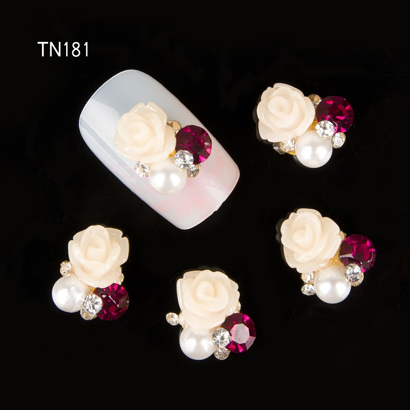 10pcs 3D beige flowers Charm Decorations Glitter pearl Alloy Metal Jewelry Rhinestones for Nail Art Studs Tools TN181 artlalic 1 wheel new 3d nail decorations tools charm perfume bottle flowers triangle rhinestones diy nail art jewelry promotion