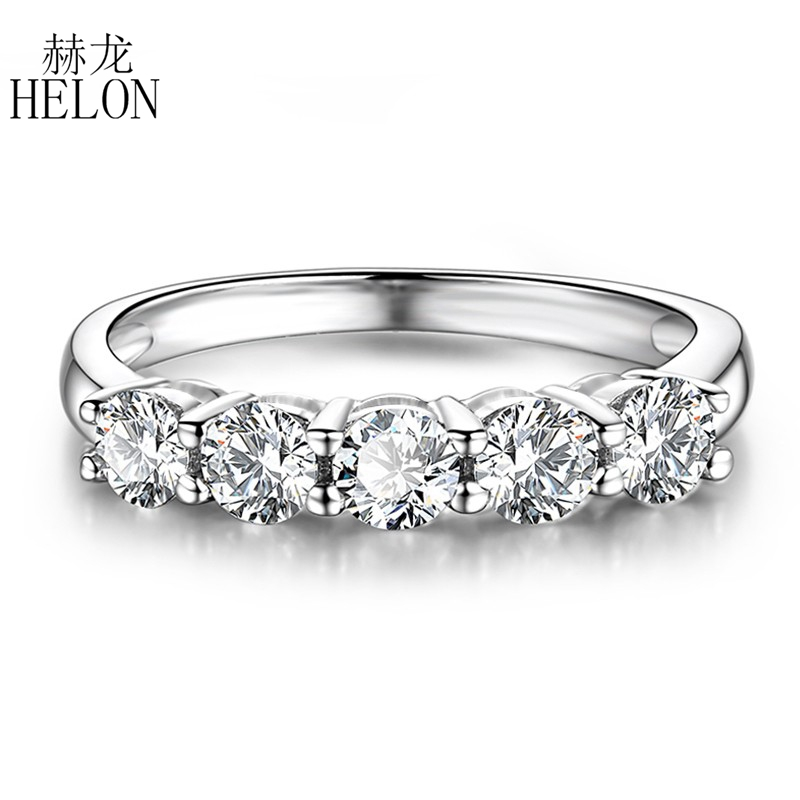 Real 14K White Gold Moissanite Ring 0.5CT F Color Engagement Ring Test...