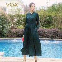 VOA Silk Shirt Dresses Women Basic Elegant Long Sleeve Slim Mid Waist Peacock Green Vogue Plus Size Ladies Clothes vestido A2910