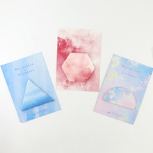 4 pcs Watercolor gradient sticky note Geometry stickers scrapbooking Self-adhesive Notepad Portable school supplies FM946 mirui one day one do small note portable notepad sticky thick note paper