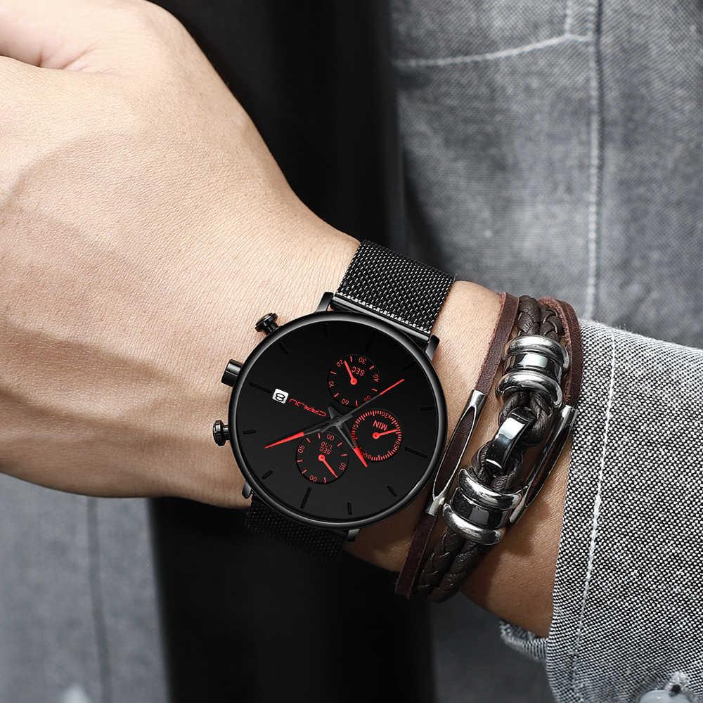 Mens Vrouwen Stopwatches Crrju Uniek Ontwerp Luxe Sport Polshorloge Rvs Mesh Band Mannen Mode Casual Datum Horloges