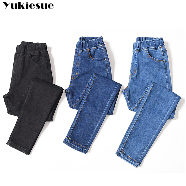 2019 Spring Summer Plus Size 5xl high Elastic Waist Stretch Ankle length push up mom Jeans for Women Skinny Pants Capris Jeans 5