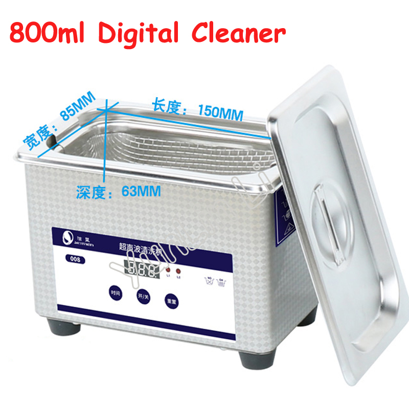 800ml Digital Ultrasonic Cleaner 110V/220V 50W Watch Washer Stainless Steel Jewelry Cleaning Machine JP-008