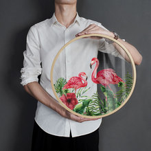 Nordic style Flamingo green plant decoration painting Round glass transparent alphabet mural Hanging