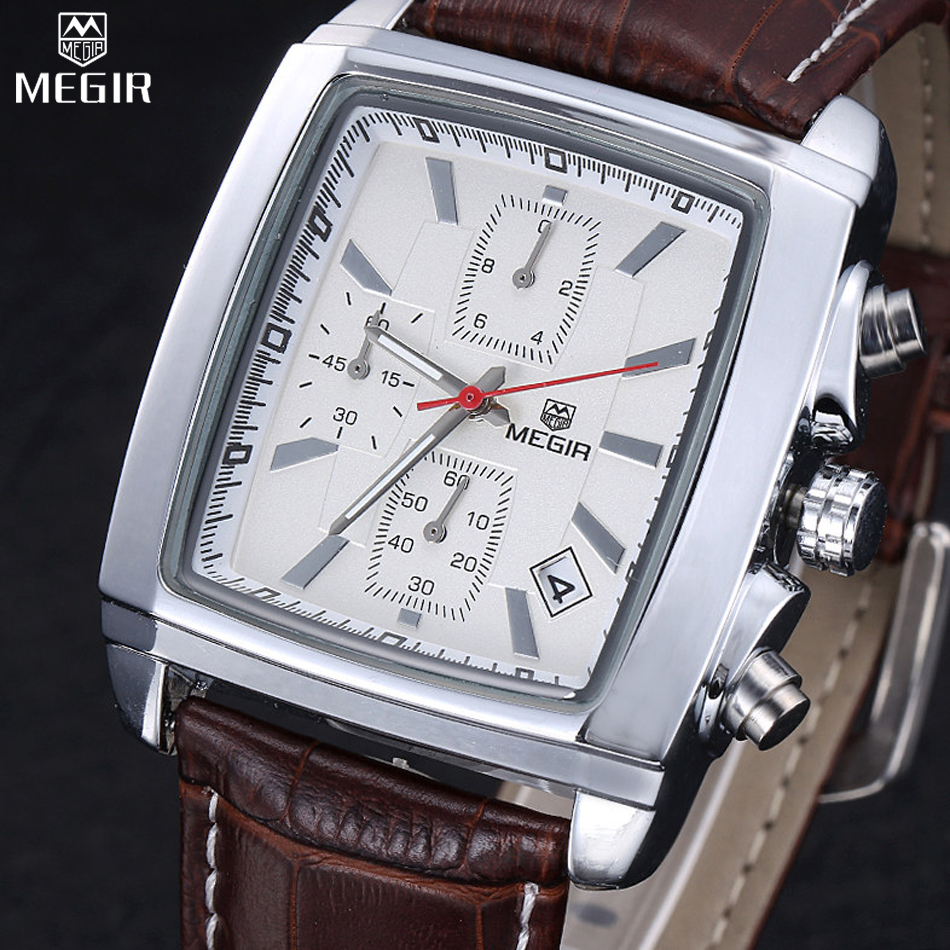 MEGIR Chronograph Waterproof Multifunction Quartz Watch Men s Leather Luxury Brand Military Watches Relogio Masculino