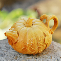 Wood Pumpkin Plant sculpture statue tea pot Retro wooden Ornament Kung Fu Tea Set Household Tea Cup for decoration