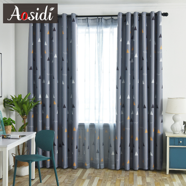 Triangular pattern blackout curtains for bedroom living room Modern gray  curtain kid\'s room tulle and curtain cortina para sala-in Curtains from  Home ...