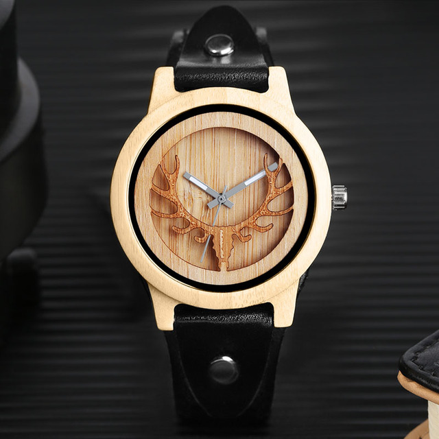 5d0bf99a72b YISUYA Steampunk Legal Marca de Topo Mens Relógios De Madeira Cabeça de  Veado Alces Preto Genuíno