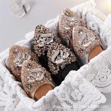 Женская обувь на плоской подошве со стразами; мягкая подошва; удобная обувь для беременных; женские складывающиеся водонепроницаемые балетки для невесты; подружки невесты; лиса