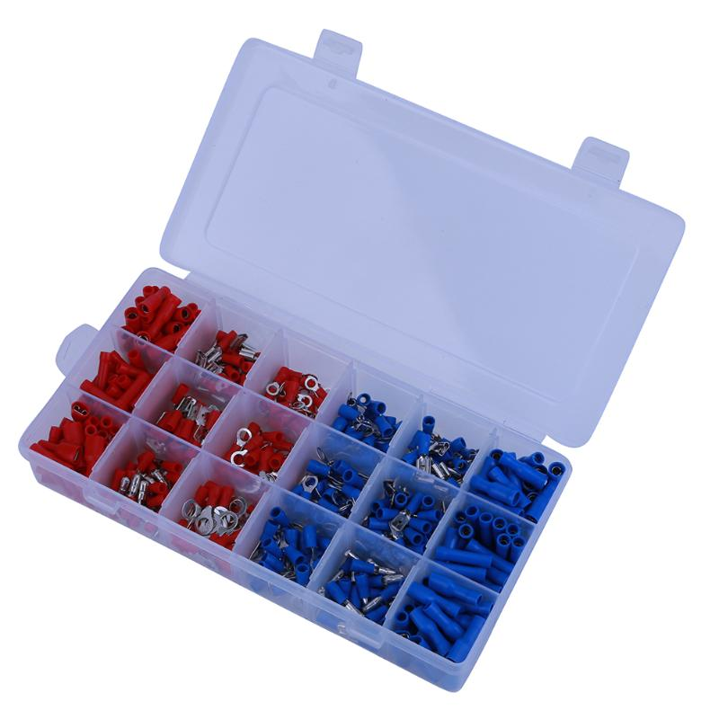 360pcs Assorted Insulated Spade Wire Crimp Terminal Electrical Cable Connector Hand DIY Repair Tool Terminals Kit Set 300pcs assorted insulated electrical wire terminals crimp connector spade set red yellow blue