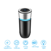 Car Air Purifier PM2.5 Formaldehyde Negative Ions Air Cleaner Ionizer Air Freshener with Car Charger Remove