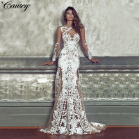Hollow Out Sheerness Lace Dress New Gothic Vintage Long Sleeve Floor Length Women Evening Party Dress Sexy Bride Dress