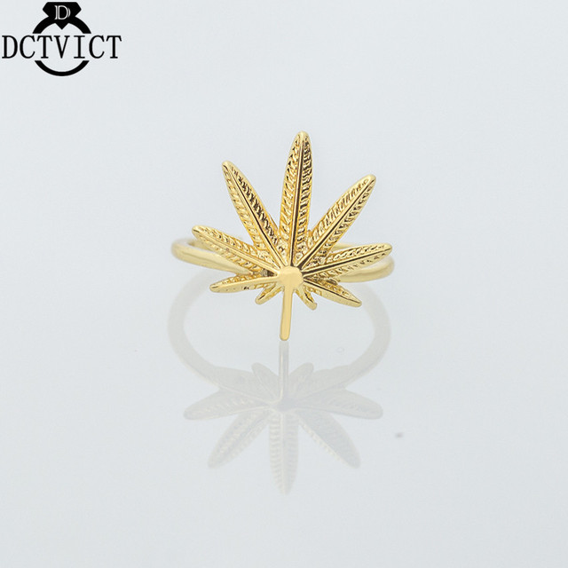 DCTVICT Gold Silver Couples Rings Bohemia Canada Maple Leaf Ring 2017 Hot Sale Female Jewelry Open Circle Bague
