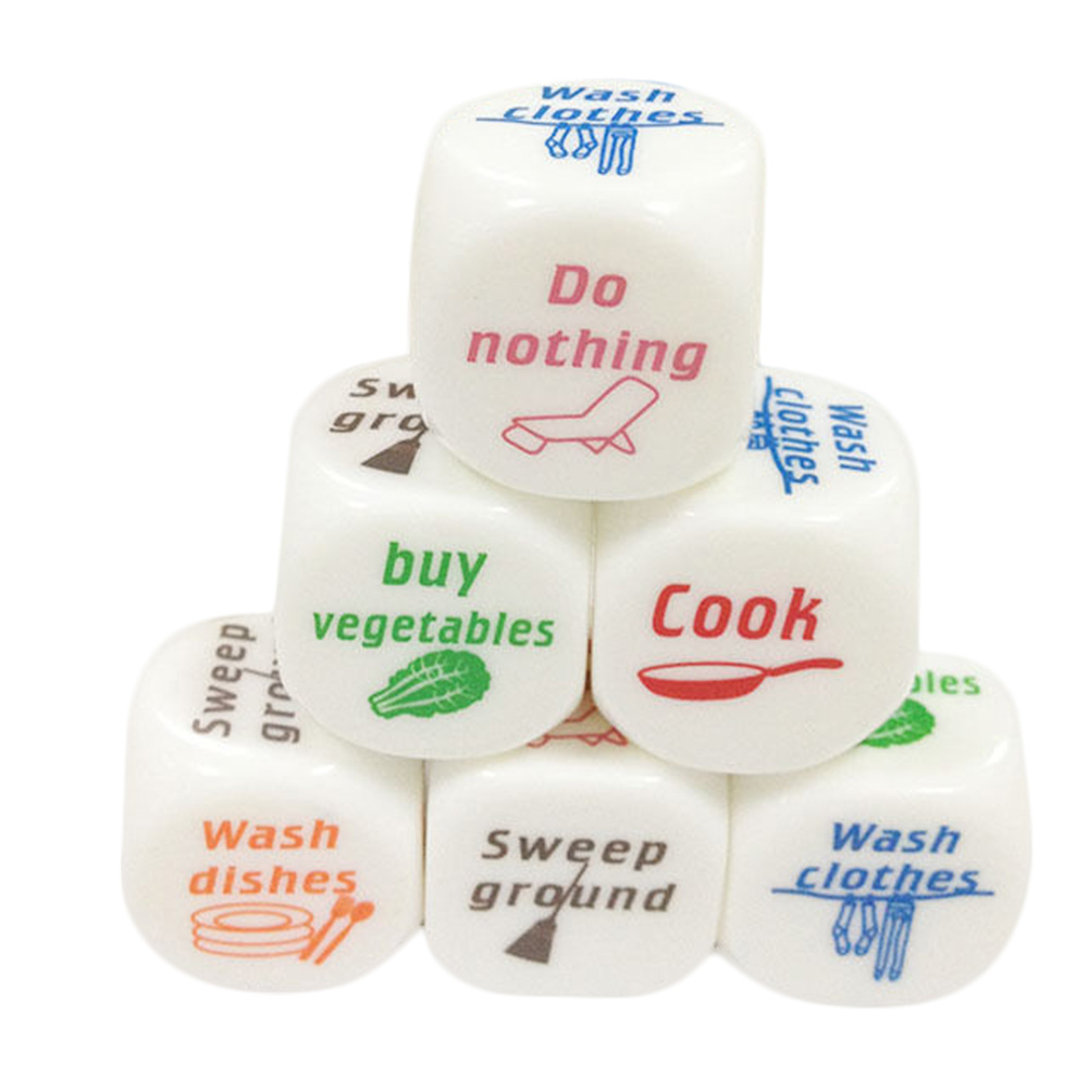 1 Pieces Housework Dice Funny Party Housework English Dice Games Pub Fun Die Toy Gift