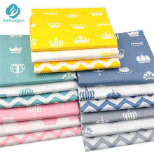 Mensugen Crown Chevron 100% Cotton Fabric Meters for Patchwork Quilting Baby Bedding Cribs Blanket Sewing Material