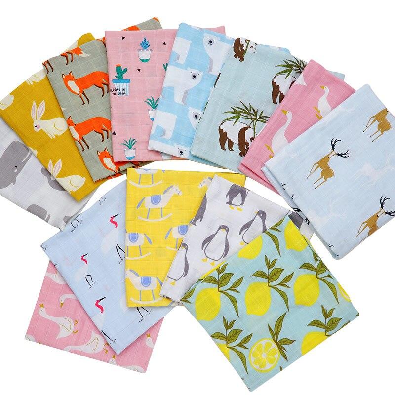 Muslinlife Baby Blankets Newborn Cartoon Animal Print Baby Wrap Bibs Towel Bandanas Scarf Children Cravat Infant Kids Scarf