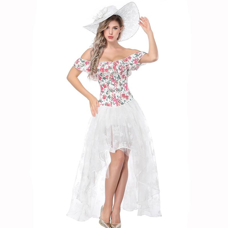 d879c7e0682 White Floral Corsets And Bustiers Gothic Corset Dress Victorian Steampunk  Costumes Burlesque Clothing Corpetes E Espartilhos