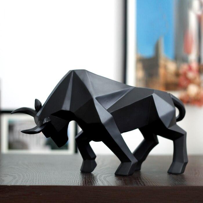Resina geométrica bisonte boi escultura abstrata bull estátua decoração do escritório casa arte e artesanato ornamento acessórios presente de aniversário